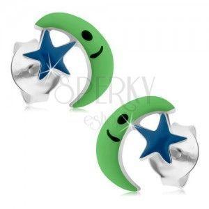 Wkręty ze srebra 925, zielony księżyc, niebieska gwiazda, emalia obraz