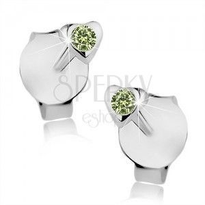 Kolczyki ze srebra 925, drobne lśniące serduszko, zielony Swarovski kryształ obraz