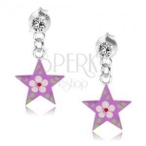 Kolczyki ze srebra 925, przezroczysty kryształek, fioletowa gwiazda z kolorowym kwiatkiem obraz