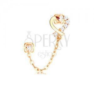 Diamentowy kolczyk z żółtego 14K złota, kontur serca, bezbarwne brylanty i łańcuszek obraz