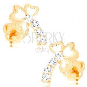 Złote diamentowe kolczyki 14K - trzylistek z błyszczącą łodygą, bezbarwne brylanty obraz
