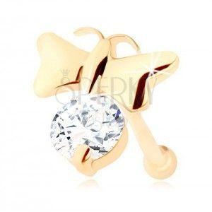 Brylantowy piercing do nosa z żółtego 14K złota - lśniący motyl i bezbarwny diament obraz