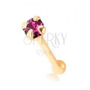 Piercing do nosa w żółtym 9K złocie - okrągła cyrkonia fioletowego koloru obraz