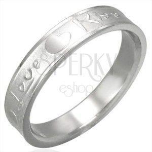 Stalowy pierścionek srebrnego koloru, matowy środek i lśniące krawędzie Love & Kiss obraz