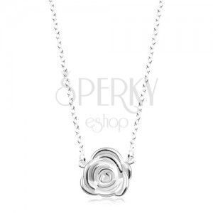 Srebrny naszyjnik 925, błyszczący łańcuszek, rozkwitnięta róża obraz