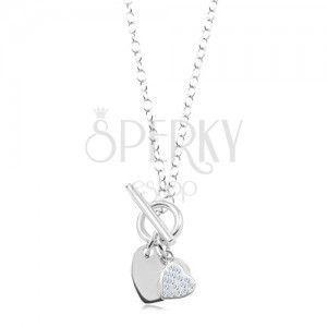 Srebrny 925 naszyjnik, gładkie i cyrkoniowe serce, łańcuszek obraz