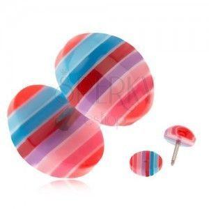 Oszukany plug do ucha z akrylu - niebieskie, czerwone i różowe paski obraz
