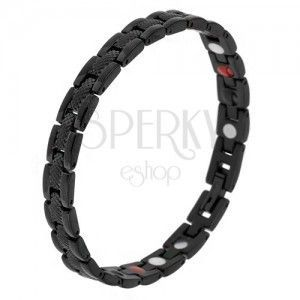"""Czarna magnetyczna bransoletka ze stali, wzór wężowy, ogniwa """"Y"""", kuleczki obraz"""