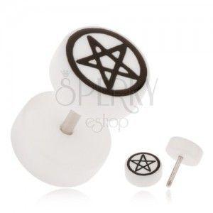 Akrylowy fake plug do ucha, biały kolor, pentagram obraz