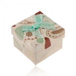 Pudełeczko na pierścionek, zawieszkę lub kolczyki, beżowa z kolorowymi wzorami, turkusowa kokardka obraz