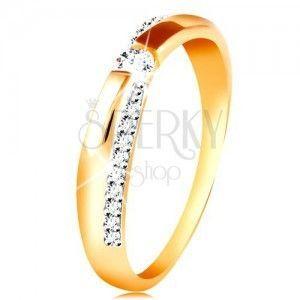 Złoty 14K pierścionek - błyszczący i gładki pas, okrągła cyrkonia bezbarwnego koloru obraz