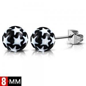 Kolczyki ze stali 316L, czarno-białe kuleczki z gwiazdkami obraz
