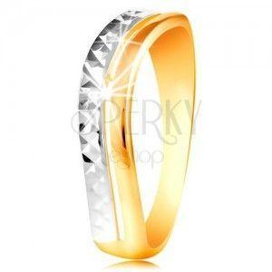 Złoty pierścionek 585 - fala z białego i żółtego złota, lśniąca oszlifowana powierzchnia obraz
