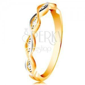 Złoty pierścionek 585 - dwie cienkie splecione fale z białego i żółtego złota, cyrkonie obraz