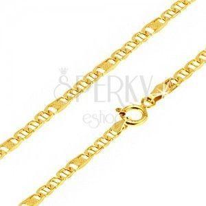 Łańcuszek ze złota - owalne ogniwa ze słupkiem, element z kratką, 550 mm obraz