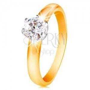 Złoty 14K dwukolorowy pierścionek - bezbarwna cyrkonia w sześcioramiennym koszyczku, wypukłe ramiona obraz