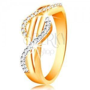Złoty pierścionek 585 - cyrkoniowe fale z żółtego i białego złota, proste gładkie pasy obraz