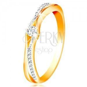 Złoty 14K pierścionek, rozdzielone ramiona z żółtego i białego złota, bezbarwne cyrkonie obraz