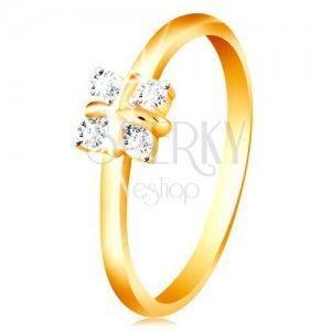 Złoty 14K pierścionek - lśniące zaokrąglone ramiona, cztery przezroczyste cyrkonie, krzyż w środku obraz