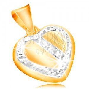 Złota zawieszka 14K - serce z oblamowaniem i ukośnym pasem z białego złota, nacięcia obraz