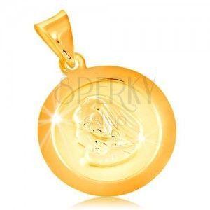 Zawieszka z żółtego 14K złota, okrągła płytka z Maryją Panną obraz