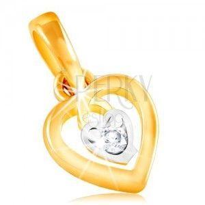 Zawieszka z 14K złota - kontur serca i małe serce z bezbarwną cyrkonią pośrodku obraz