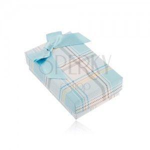 Pudełeczko na łańcuszek lub zestaw pierścionka i kolczyków, jasnoniebieski wzór w kratkę obraz