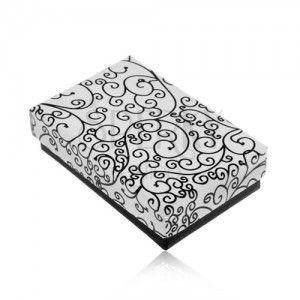 Pudełeczko na zestaw lub naszyjnik w czarno-białej wersji, ornamenty obraz