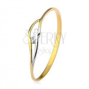 Pierścionek z żółtego i białego 14K złota, wąskie ramiona, fale i cyrkon w bezbarwnym kolorze obraz