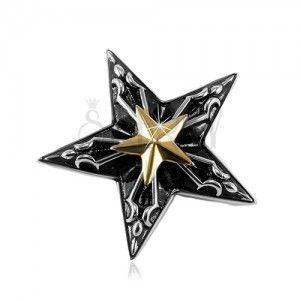 Stalowa zawieszka, duża czarna gwiazda z małą gwiazdą złotego koloru pośrodku obraz