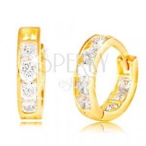 Kolczyki z żółtego 14K złota - okrągłe, osadzone błyszczące bezbarwne cyrkonie obraz