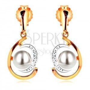 Złote kolczyki 585, dwukolorowa asymetryczna łza, biała perła, cyrkonie obraz