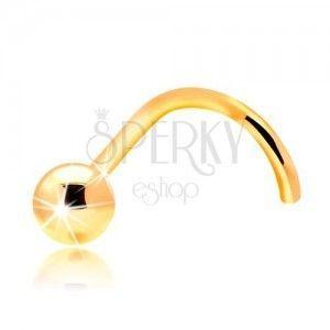 Złoty 14K zagięty piercing do nosa - lśniąca gładka kuleczka obraz