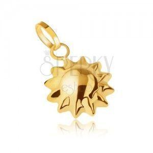 Złoty wisiorek 585 - trójwymiarowe lśniące słoneczko, szpiczaste promienie obraz
