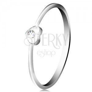 Diamentowy pierścionek z białego 14K złota - serce z bezbarwnym brylantem obraz