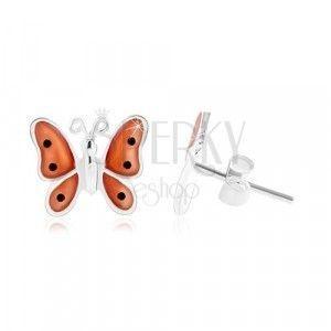 Srebrne 925 kolczyki, motyl z pomarańczowymi emaliowanymi skrzydłami obraz