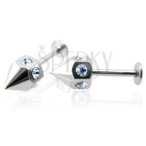 Kolczyk labret do brody z cyrkoniami wokół obwodu - niebieski, para obraz