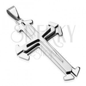 Stalowa zawieszka w srebrnym odcieniu - potrójny krzyż obraz