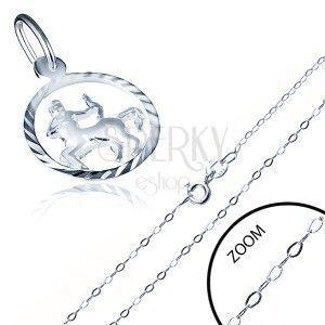 Srebrny naszyjnik 925 - drobny łańcuszek i wisiorek, znak Zodiaku STRZELEC obraz