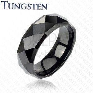 Czarny tungsten pierścionek - z oszlifowanymi rombami, 6 mm obraz