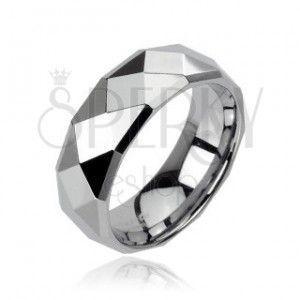 Wolframowa obrączka srebrnego koloru ze wzorem małych rombów, 8 mm obraz