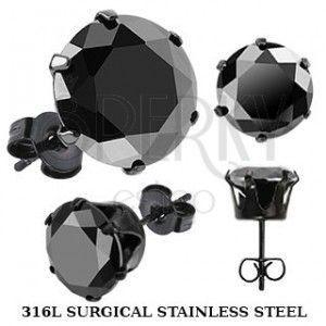 Czarne kolczyki wkręty ze stali - czarna cyrkonia w koszyczku obraz