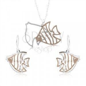 Srebrny komplet 925, rzeźbione ryby w kolorze srebra i miedzi obraz