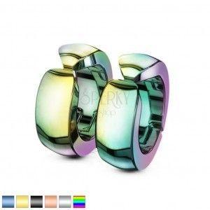 Gładkie kolorowe stalowe kolczyki, lśniące kółka klipsy obraz
