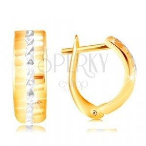 Złote 14K kolczyki - błyszcząca szlifowana powierzchnia, linia z białego złota w środku obraz