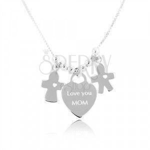 Srebrny naszyjnik 925, serce z napisem Love you MOM, chłopiec i dziewczynka obraz