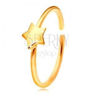 Złoty 14K piercing do nosa, lśniący krążek z gwiazdką, żółte złoto obraz