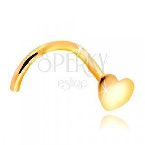 Złoty zagięty piercing do nosa 585 - lśniące płaskie serce obraz