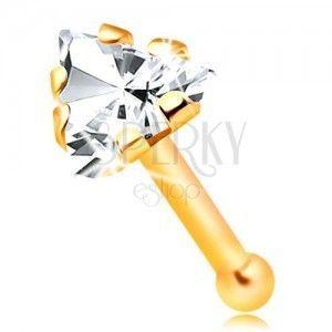 Prosty złoty 14K piercing do nosa -cyrkoniowy trójkąt bezbarwnego koloru obraz