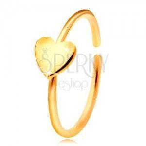 Złoty 585 piercing do nosa, lśniący krążek z serduszkiem, żółte złoto obraz